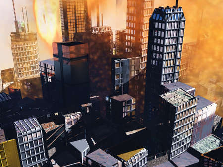 Armageddon  scene in city photo