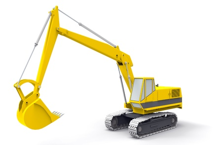 Yellow excavator  isolated on white photo