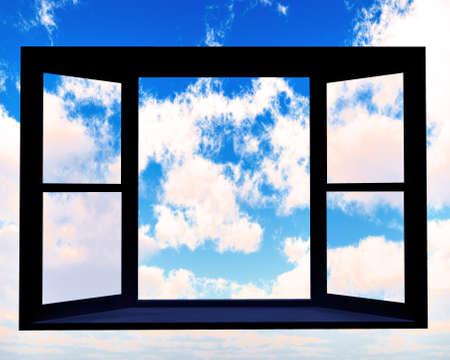 ventana abierta interior: Ventana de oportunidad Foto de archivo