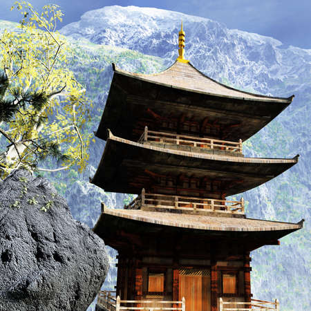 chinese temple: Buddhist temple in mountains