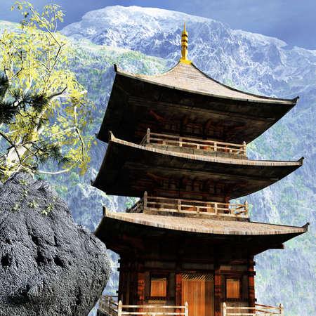 Templo budista en las monta�as Foto de archivo - 19060268