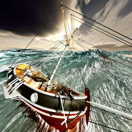 gale: Sinking pirate brigantine