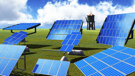 Solar panels on green grass photo