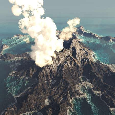 Anak Krakatau erupting Imagens