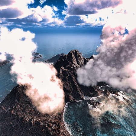 ash cloud: Anak Krakatau erupting Stock Photo