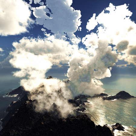 seismic: Anak Krakatau erupting Stock Photo