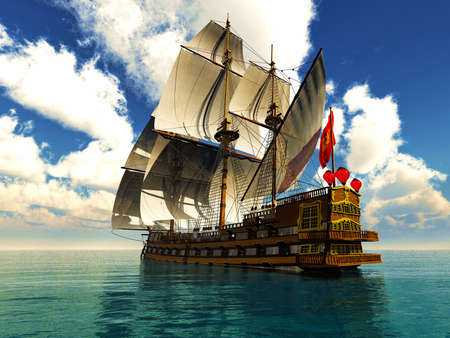 sailing ship: Pirate brigantine