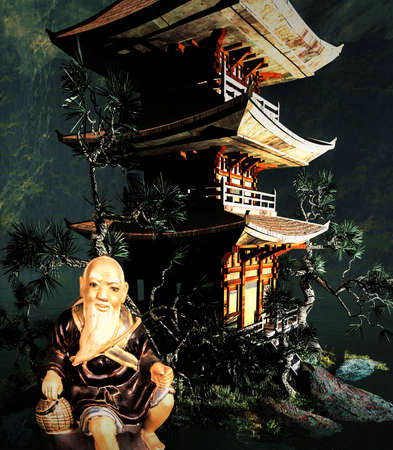 Buddhist temple in mountains photo