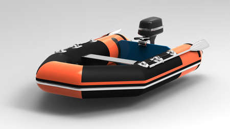 dingy:  Rubber motorboat Stock Photo