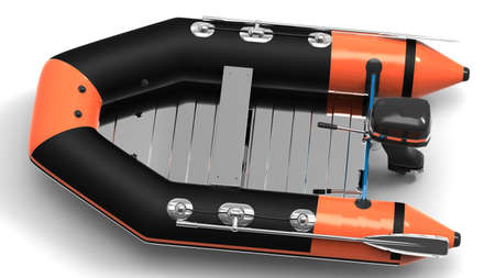 lifeboat:  Rubber motorboat Stock Photo