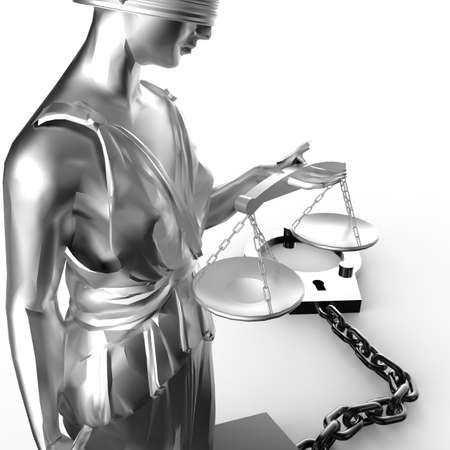 justness: Themis statue and handcuffs Stock Photo