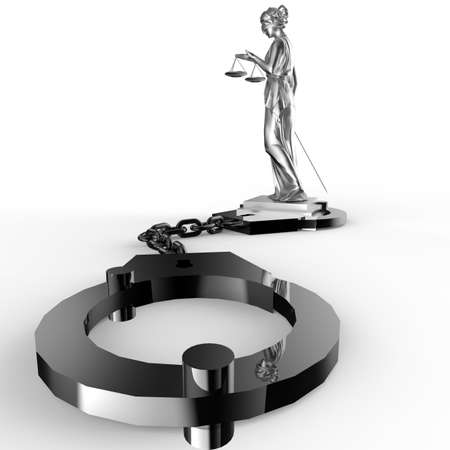 handcuffs woman: A picture of a Themis statue and handcuffs over white background Stock Photo