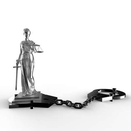 dama de la justicia: Estatua y esposas Themis Foto de archivo
