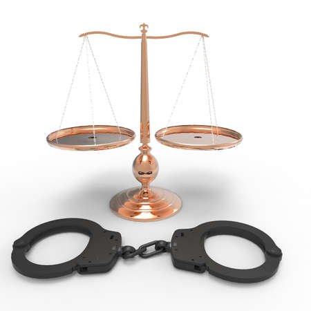 Scales of justice and handcuffs concept