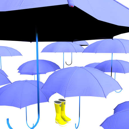 wellingtons: Umbrellas and wellies isolated on white background