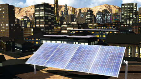 Solar panels in the city photo
