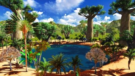 수영장에서 무성하고 활기찬 식물 아프리카 사바나 스톡 콘텐츠