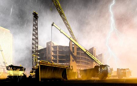 暴風雨の中に工事現場