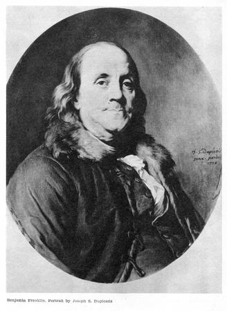 Benjamin Franklin op portret uit 1778