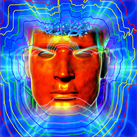 Cyborgs head with energy plates Stock Photo