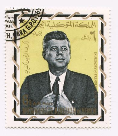 John Fitzgerald Kennedy on Yemen postage stamp Redakční
