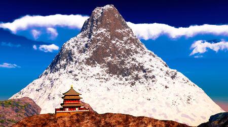 Buddhist temple in Tibet Stock Photo