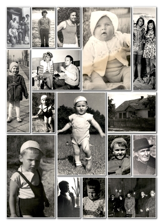 Vintage people from 1960s  on collage