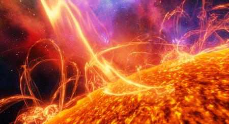 Cerca De Las Erupciones Solares En La Superficie Del Sol, Ilustración 3d  Fotos, Retratos, Imágenes Y Fotografía De Archivo Libres De Derecho. Image  95052387.