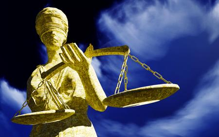 Lady Justice Sculpture of woman with sword and scale Reklamní fotografie - 44758379