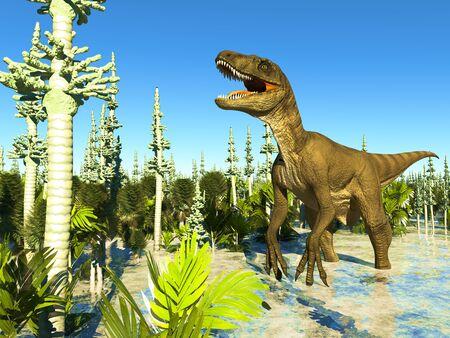 Jurassic park with big T.rex fighting