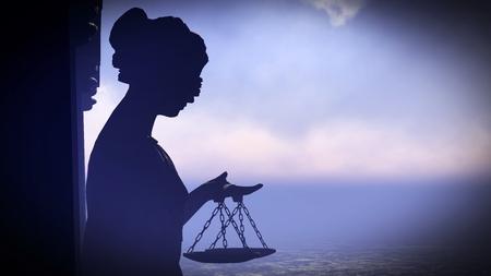 Themis - dame van rechtvaardigheid. conceptuele illustratie