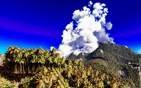 Volcanic eruption on tropical island, 3d illustration Stock Photo