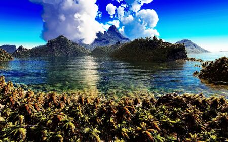 Volcanic eruption on tropical island, 3d illustration Reklamní fotografie