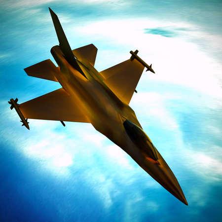 青い空に向かって飛んでミサイル搭載のジェット戦闘機