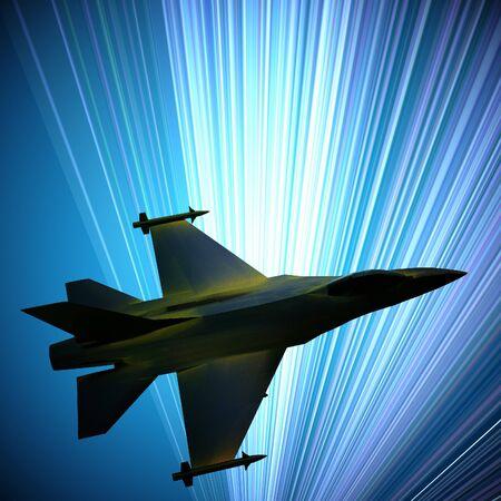 ジェット戦闘機が相手に飛んでいるミサイルを搭載、こんにちは技術の背景