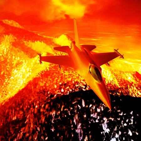 攻撃後に飛んでミサイル搭載のジェット戦闘機 写真素材