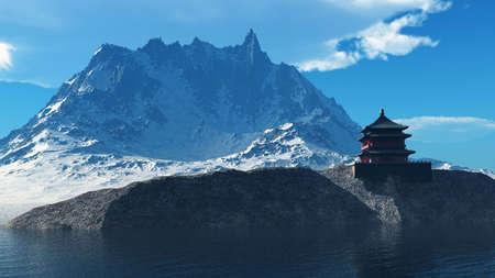 Templo budista en montañas rocosas
