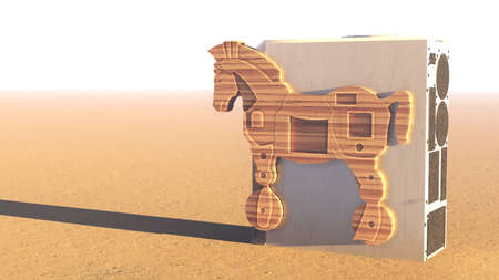 Trojan horse and computer 3d rendering