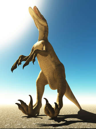 Velociraptor the dinosaur 3d rendering Stock Photo