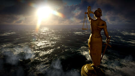 Themis in court 3d illustration
