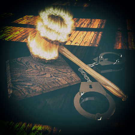 handcuffs and burning gavel 3d illustration