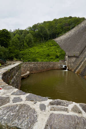 Historic German Dam on Lake Bystryckie in South West Poland