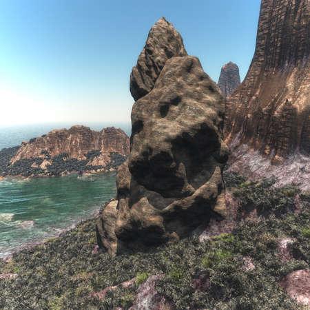 Sokotra Island shore landscape, Yemen 3d rendering