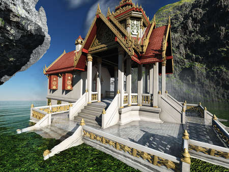 Buddhist temple in mountains 3d rendering