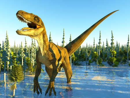 Velociraptor the dinosaur 3d rendering Imagens
