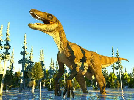Velociraptor the dinosaur 3d rendering Banco de Imagens