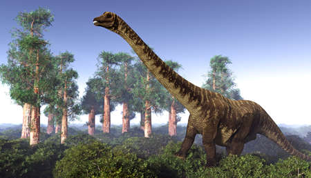 Voorhistorisch landschap met het grote diplodoc 3d teruggeven