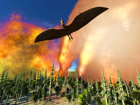 Dinosaur doomsday 3d rendering Reklamní fotografie - 85324170