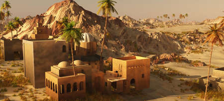 Arabic village on wasteland, 3d rendering Imagens