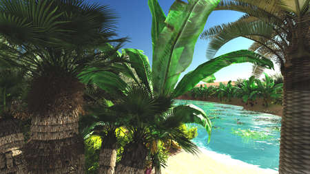 Rich tropical vegetation on wilderness later in the day, 3d rendering Фото со стока